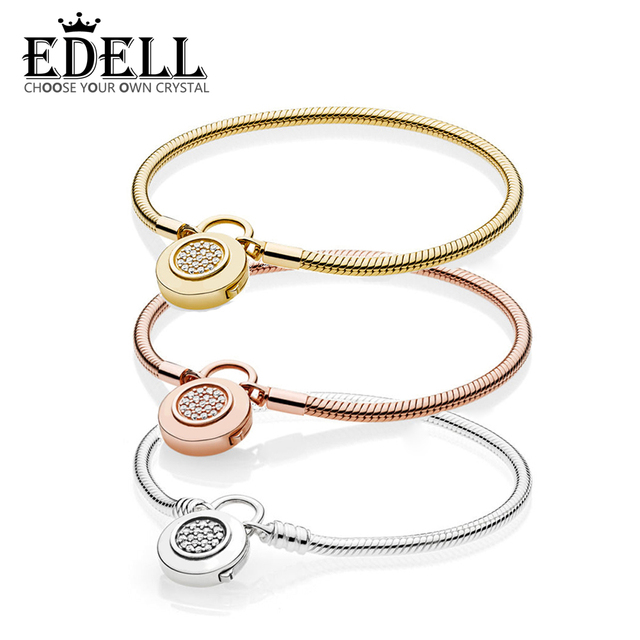 f040e6e9c EDELL 100% 925 Sterling Silver Authentic 567757CZ 587757CZ 597092CZ SHINE  MOMENTS SMOOTH BRACELET Charm Original Women Jewelry