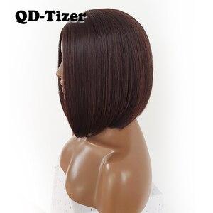 Image 4 - QD Tizer Korte Bob Haar Geen Kant Pruiken Zijdeachtige Top Hittebestendige Synthetische Lijmloze Pruiken voor Zwarte Vrouwen