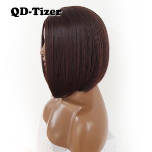 Image 4 - QD Tizer Short Bob Hair No Lace Wigs Silky Top Heat Resistant Synthetic Glueless Wigs for Black Women