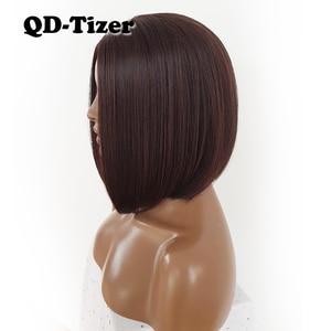 Image 4 - QD Tizer قصيرة بوب الشعر لا الدانتيل الباروكات حريري أعلى مقاومة للحرارة الاصطناعية غلويليس الباروكات للنساء السود