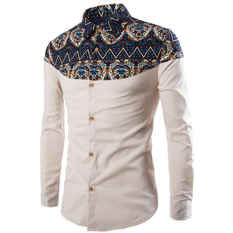 New 3colorsgood Quality Cotton Blends Férfi nyomtatás Hosszú ujjú - Férfi ruházat - Fénykép 4