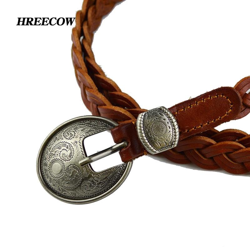 Negro femenino Casual cuero genuino marrón trenzado vaca piel correas mujeres Pin hebilla cinturón moda decoración estudiante cinturón tejido