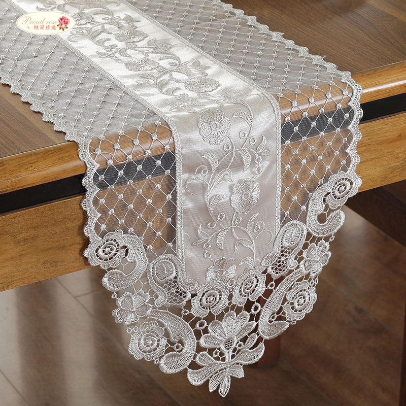 Proud Rose Lace Table Flag Princess Table Runner Beige TV Ark Cover Cloth French Romantic Tablecloth Hotel Decoration