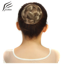 jeedou Braided Chignon Synthetic Hair Multi-tiered braids Hair Bun Pad 10*6cm 60g Black Brwon Blond Color Round Hairpiece