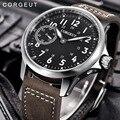 Corgeut 45 мм PVD Чехол Мужские часы модные роскошные Лидирующий бренд 6497 с ручным заводом светящиеся мужские наручные часы