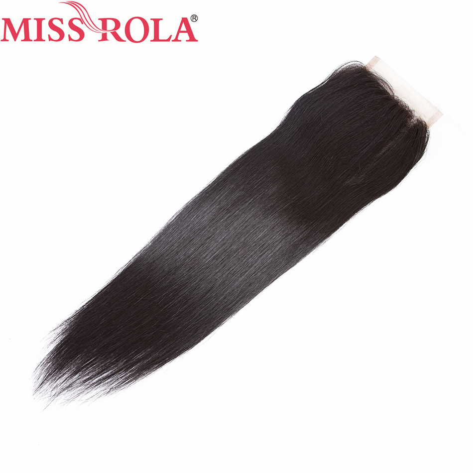 Miss Rola Hair Malaysia Straight Hair 100% Human Hair 4*4 Lace Closure 1 Piece Extensions Natural Black 10-20 Inches Non Remy
