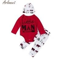 ARLONEET 3Pcs New Born Infant Baby Boy Clothes Set Letter Romper Pants Hat Outfits