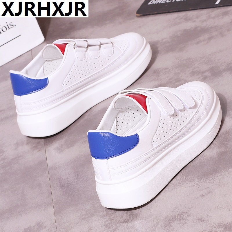 New 2018 Women Sneakers Platform Mesh Shoes Woman Breathable 4CM Wedge Heel Casual Shoes Spring Height Increasing Shoes White