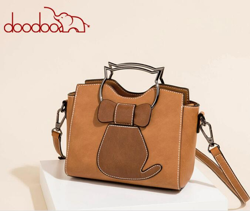DOODOO Cute Bag Pu Leather Cat Tote Handbag Messenger Bags Women Shoulder Bags Crossbody Chains feminina bolsas FR577 ноутбук hp omen 17 an016ur 2500 мгц dvd±rw
