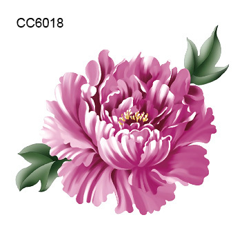 2 pcs Purple Tattoo Color Flower Peony Designer Temporary Tattoo
