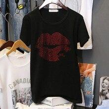 Women Hot Lips Diamond Print T Shirt Cotton Ladies Black 2019 Street Fashion Drill Rhinestone Top Tees T-shirt
