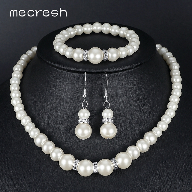 Mecresh Simulated Pearl Bridal Jewelry Sets Silver Color Prom Necklace Earrings Bracelet Wedding Accessories