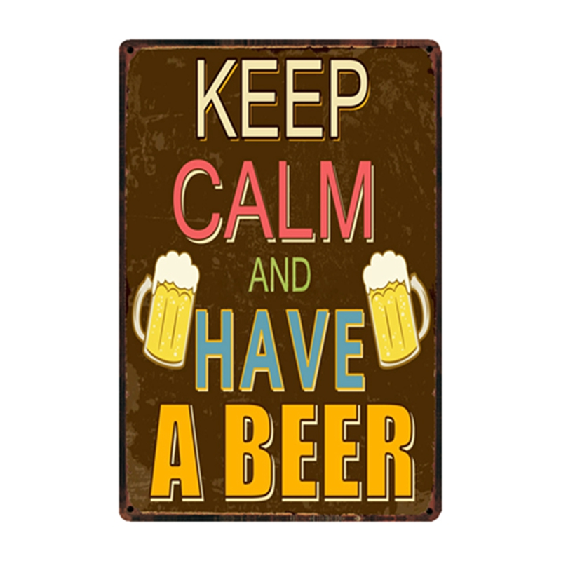 Mike86 Keep Calm And Have A Best Cold Beer Beer Tin Sign Custom Poster Personality Classic Metal Painting Decor Art ZZ 06 in Plaques Signs from Home Garden