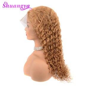Image 5 - Parrucche frontali in pizzo biondo miele per donne nere 150% densità colore 27 parrucche a onde profonde per capelli umani 13X4 Shuangya Remy