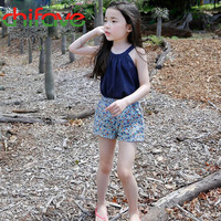 2016 New Summer Girls Clothes Sets Camisole Short Floral Pants Fashion Kids Girls Cotton Clothing Sets