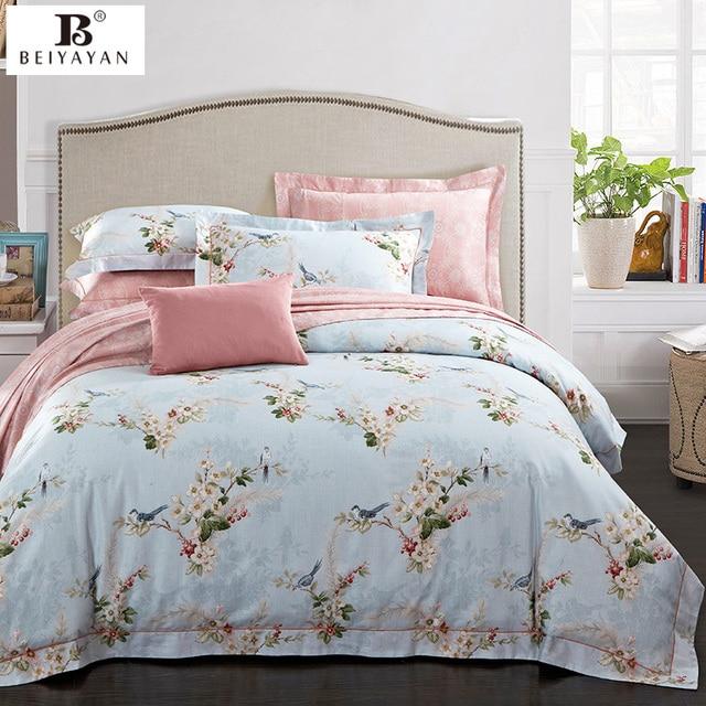 Beiyayan американский стиль Виктория Розовый Секрет Цветочный комплект постельных принадлежностей кровать + крышка лист + наволочка Тенсел Хлопок Утешитель наборы