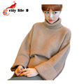 Loose Turtle Neck Sweater 2016 Winter New Korean Thick Retro Ladies Pullovers Fashion Rabbit Wool Pulover Feminino