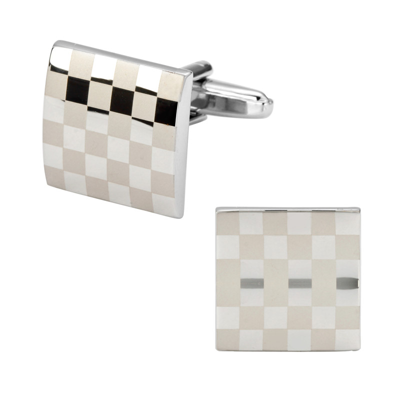 DY-15 High quality mens jewelry shirt cuff Cufflinks Metallic Silver Cufflinks square lattice laser brass laser engraving