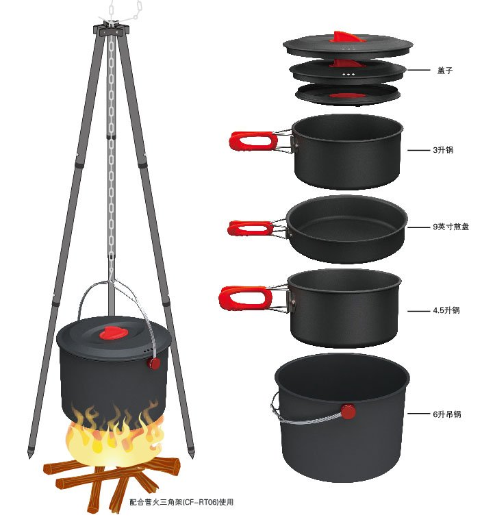2012 New Arrival 5-6 Person Cooking Sets Camping Cookware Outdoor Pots Sets CW-RT07 new arrivals fire maple fmc 204 outdoor portable camping cooking pots sets non stick cookware camping equipments 720g