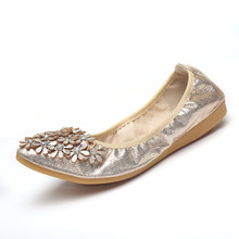 2017 Big Size 35-42 Women Sweet Flat Shoes Flower Ctystal Ladies Work Shoes Comfort Bling Leather Ballet Flats