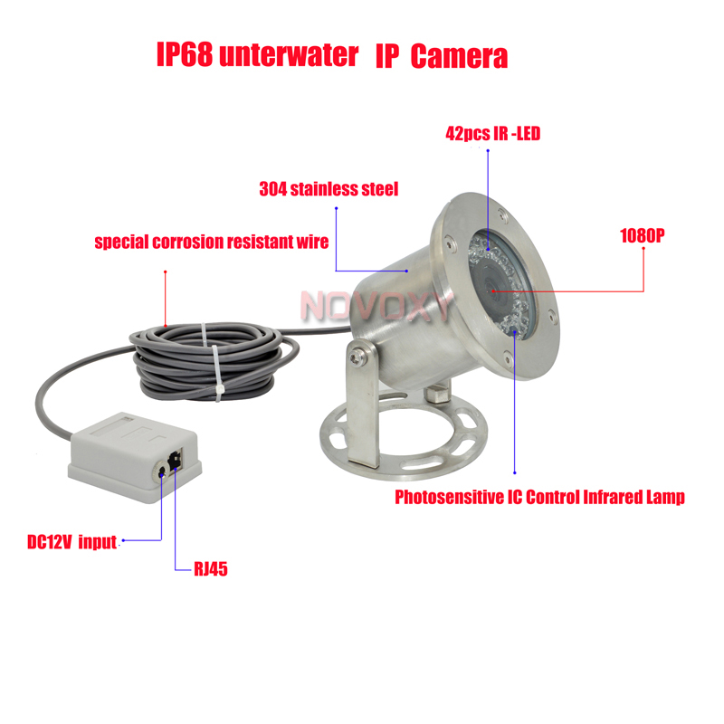 Free shipping 304 Stainless Steel 1080P 2mp 4mp IP68 Underwater POE IP Camera Underwater Camera Line 5M 1M Explosion-proof 1080p hd special design ip camera 304 stainless steel explosion