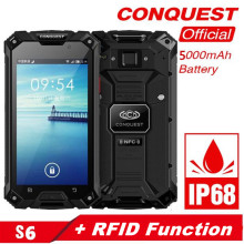 Conquest S6 IP68 Rugged Phone 3GB+32GB Waterproof phone 13MP Face ID NFC 4G Android 6.0 GPS Smartphone+power bank function+RFID gigaset me pro 3gb 32gb smartphone black