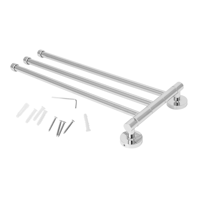 Swivel Towel Rail Chrome Stainless Steel Bath Rack Wall Mounted Holder With 3