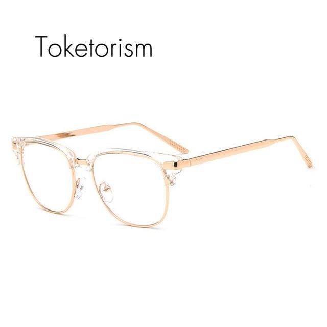 Toketorism Demi-monture lunettes en métal transparent or montures de  lunettes avec lentille claire pour b3dfa84c671e