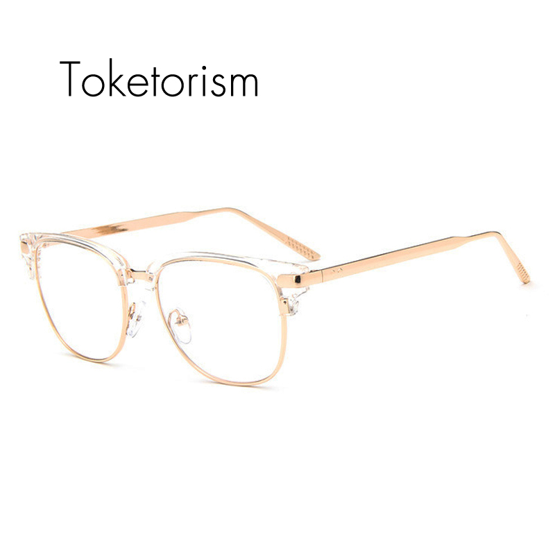 toketorism half frame metal glasses transparent gold glasses frames with clear lens for unisex 4308