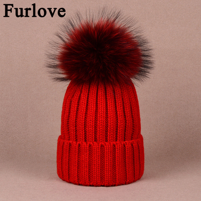 8201ab7d38b Furlove Women Real Fur Pom Pom Hat Female Winter Autumn Knitted Beanies Fur  Ball Ladies Cashmere