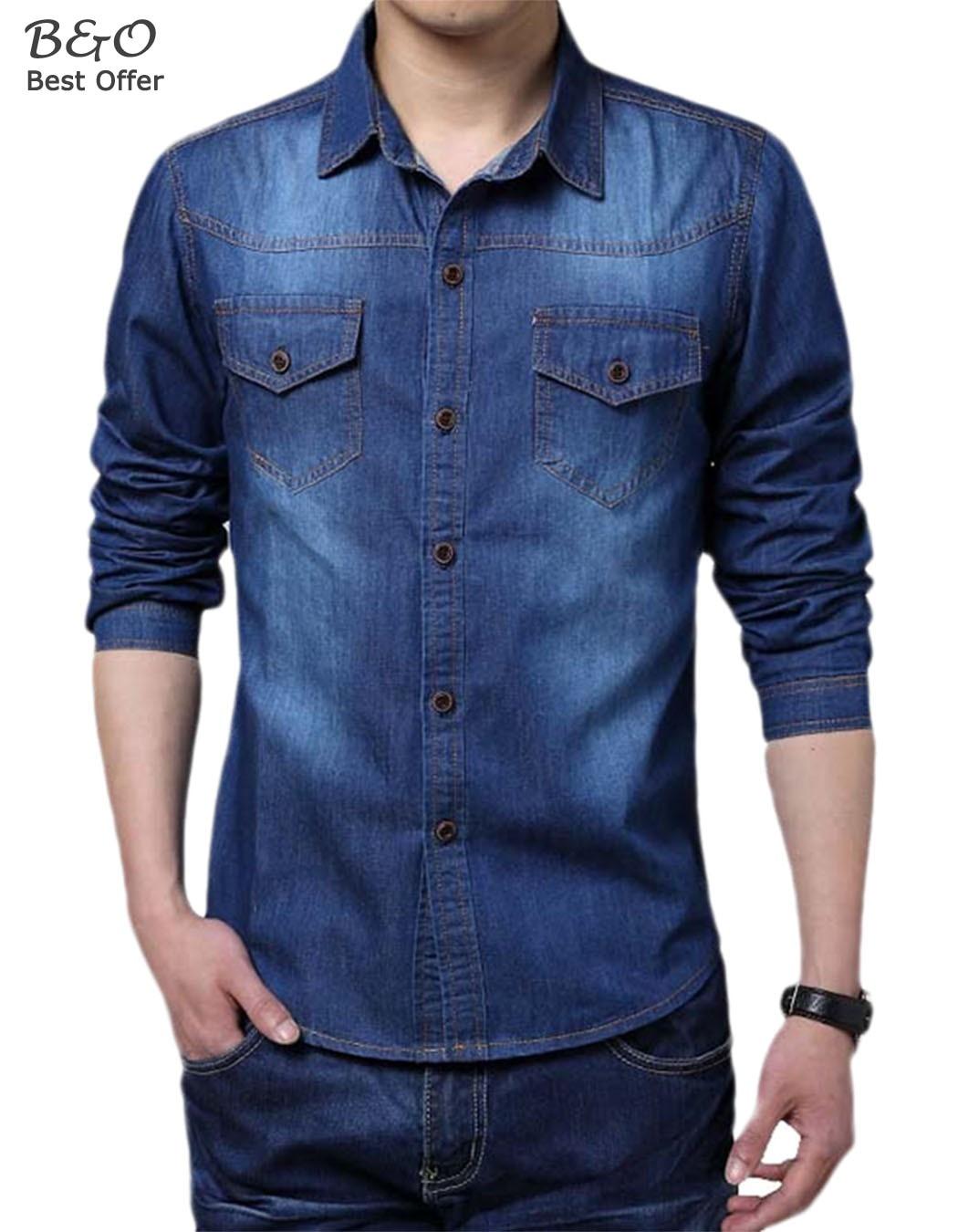 Jeans shirts men autumn blouse 2016 men fit denim shirts for Plus size men shirts