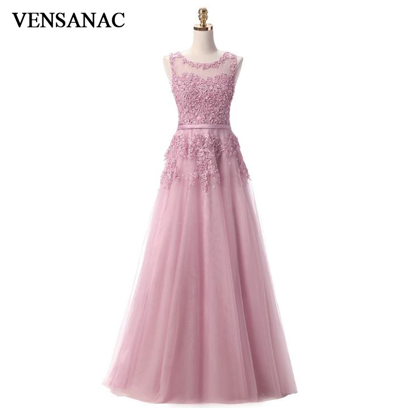 VENSANAC 2017 New A Line Lace Appliques O Neck Long   Evening     Dresses   Elegant Sleeveless Beadings Sash Tank Party Prom Gowns