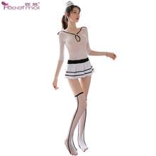 Flight Attendant Role Play Lingerie Sexy Hot Erotic Long Stockings Transparent Set Hat Costumes Women Dress