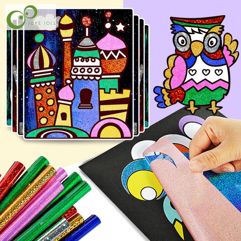 9pcs Set Cute Cartoon DIY Magic Transfer Wticker Transfer Painting Crafts for Kids Arts And Crafts Toys for Children Gift GYH
