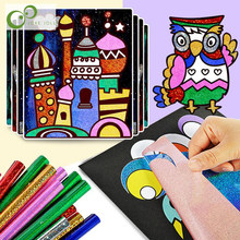 9pcs/Set Cute Cartoon DIY Magic Transfer Wticker Transfer Painting Crafts for Kids Arts And Crafts Toys for Children Gift GYH(China)