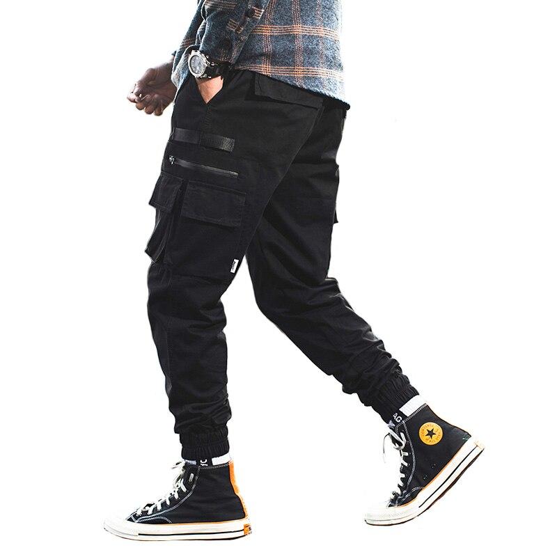 2019 Fashion Streetwear Men Jeans Black Color Loose Fit Japanese Style Joggers Pants Multi-Pockets Cargo Pants Men Hip Hop Jeans