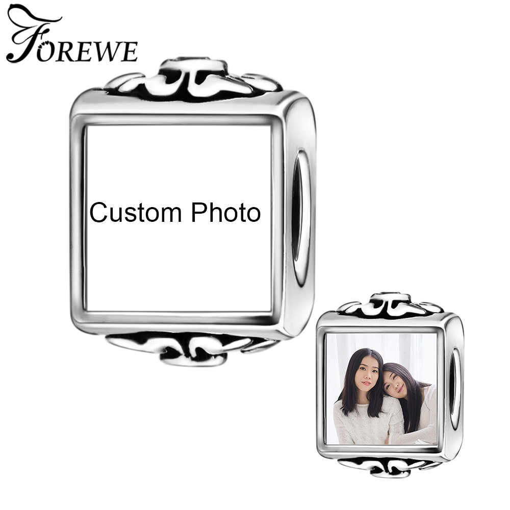 Fit Asli Pandora Charm Bracelet 925 Sterling Silver Photo Square Hiasan Manik-manik dengan Crystal CZ DIY Membuat Perhiasan