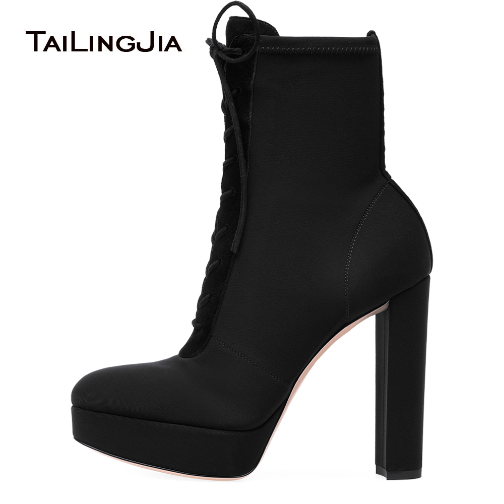 Women Round Toe Chunky Heel Platform Boots Lace Up Black Stretch Ankle Booties Ladies High Heeled Winter Shoes Platforms 2018 block platform high heel ankle short women boots medium chunky round toe shoes autumn 2017 vintage black booties chinese ladies