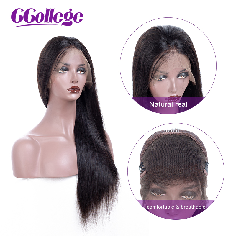 CCollege 360 Lace Frontal Wig With Baby Hair Non Remy Straight Hair Glueless Brazilian Human Hair 360 Lace Wigs For Women