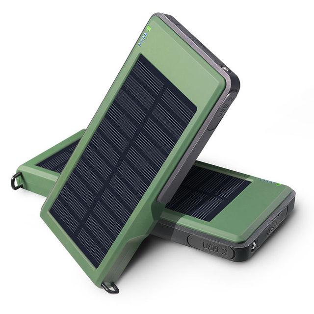 Yfw qc3.0 schnell solar-ladegerät external power batterie 10000 mah dual usb solar schnelle poverbank für iphone huawei xiaomi mobile