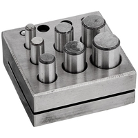 Round Disc Cutter 7 Punch Set Tool Metal Cutting Square Base Jewelry Jeweler