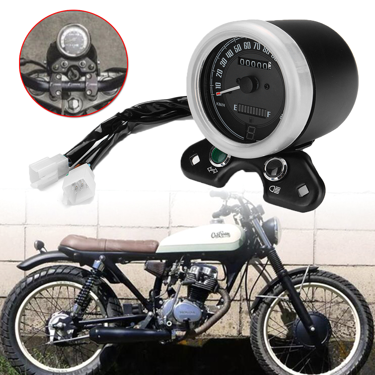 1x Motorcycle Retro Odometer Speedometer Oil Gauge LED Signal Light Odometer Gear Display USB Charger For Honda CG125 Cafe Racer old school motorcycle gauges