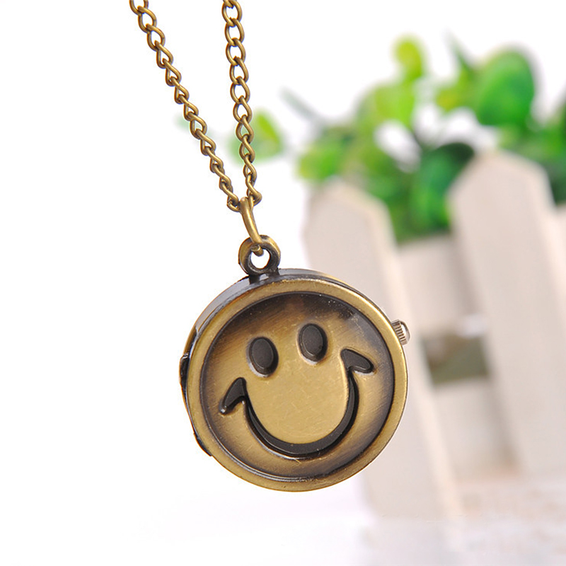 Cindiry New Fashion Vintage Bronze  Quartz Pocket Watch Cute Lovely Smile Face Pendant Chain Necklace Clock P0.3 new soviet sickle hammer style quartz pocket watch men women vintage bronze pendant necklace pendant clock with chain