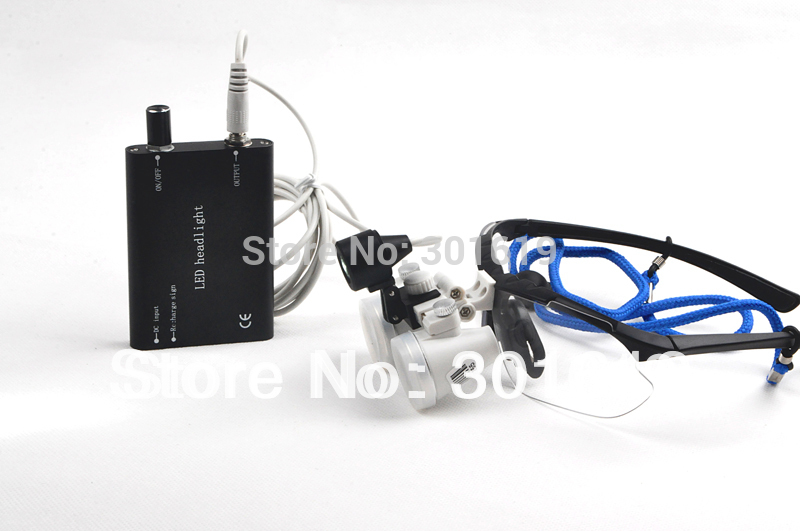 ФОТО Popular New Brand Black Dentist Dental 2.5X 420mm Surgical Medical Binocular Loupes Optical Glass + Portable LED Head Light Lamp