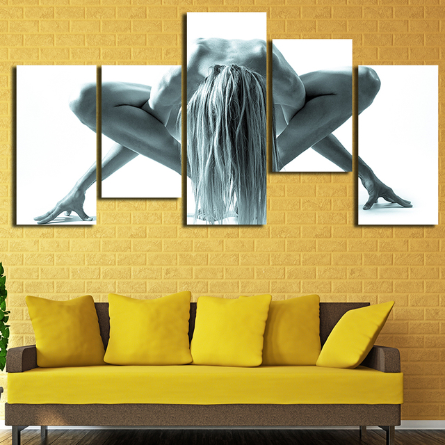 5 Pcs Canvas Art Nude Yoga Girl HD Printed Painting Gym Decoration ...