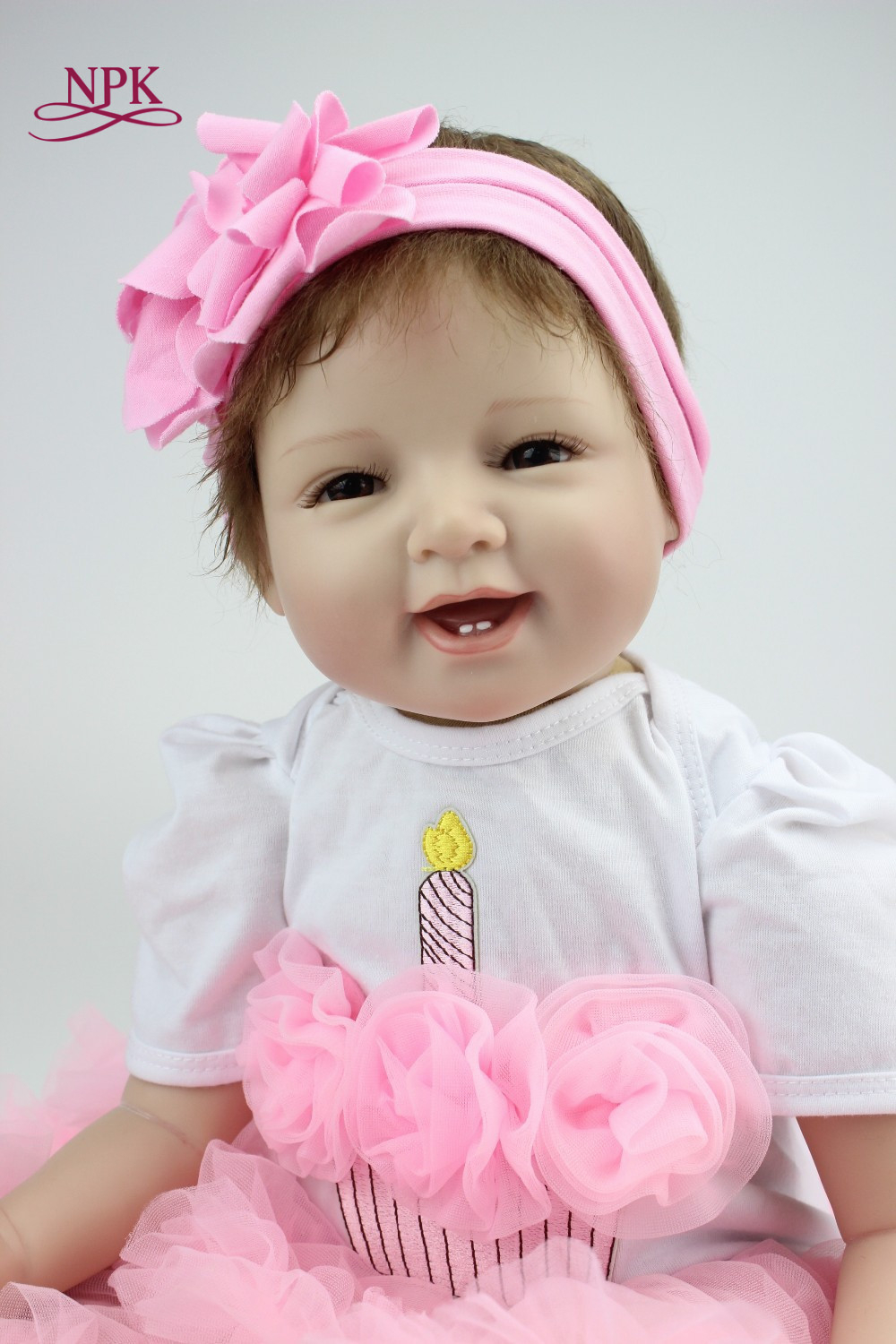 NPK 22 55cm Silicone Baby Reborn Dolls With Cotton Body Dressed in Nice Sweater Lifelike Doll