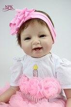 NPK 22 '55 cm silikon Reborn lalki dla dzieci z bawełny ciała ubrane w ładny sweter realistyczna lalka Reborn Babies zabawki dla dziewczynek
