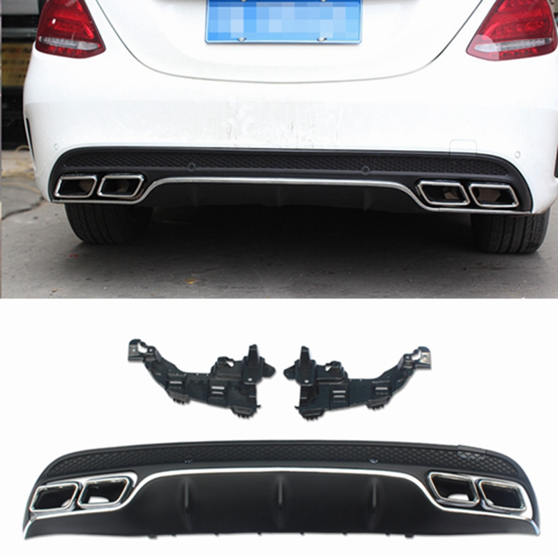 W205 C63 AMG Carbon Fiber Rear Bumper Lip Diffuser for Mercedes Benz 2016-2017 image