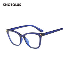 28137a44229 Knotolus Blue Light Full Glasses 2018 Vintage Cateye Optical Myopia Nerd  Brand Eyeglasses Transparent Pink frame Clear Lenses