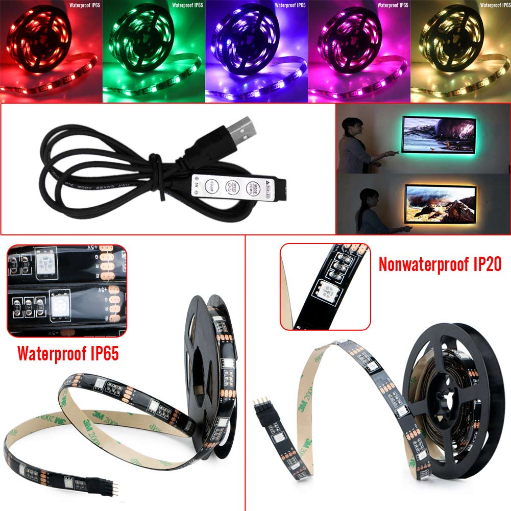 RGB <font><b>LED</b></font> 5V 12-15lm/<font><b>pc</b></font> Multicolor Manual Control <font><b>Led</b></font> Strip Light With USB Powered TV Backlighting Christmas Background Lighting image